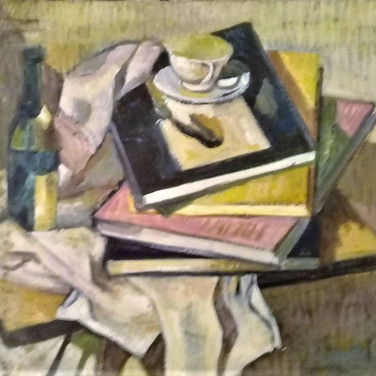 Still life with books - Oil