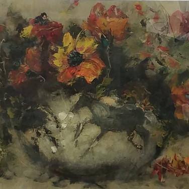 Flowers in a vase - Oil