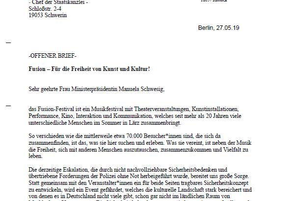 """Offenen Brief """"Fusion – Für die Freiheit von Kunst und Kultur!"""""""