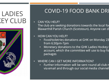 GHK Ladies Hockey Club  COVID-19 Food Bank Drive