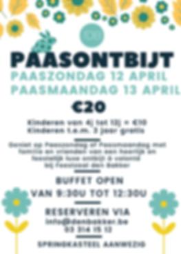 Paasontbijt 2020 feestzaal Rijkevorsel