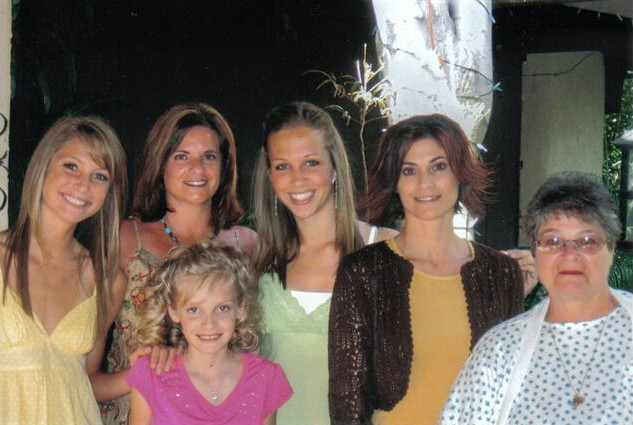 Granddaughter Brittany Leighann, oldest daughter Gina, step-granddaughter Brittany Ann, youngest daughter Donna and me. Front is granddaughter Sara