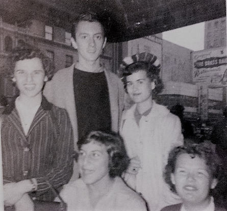 Sept, 1958 Submitted by Barbara Steinman Bengels From left to right: Ellen Kobrin, Kathleen Scotti-Reggio, me (formerly Barbara Steinman),  Barbara Van Valen Elsherbini, with Grover Dale from the cast of West Side Story
