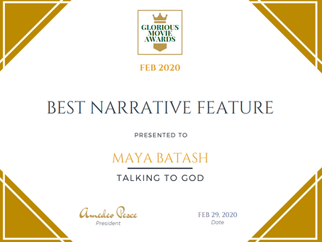 Talking to God WINS AGAIN!  Best Narrative Feature Film  Award!