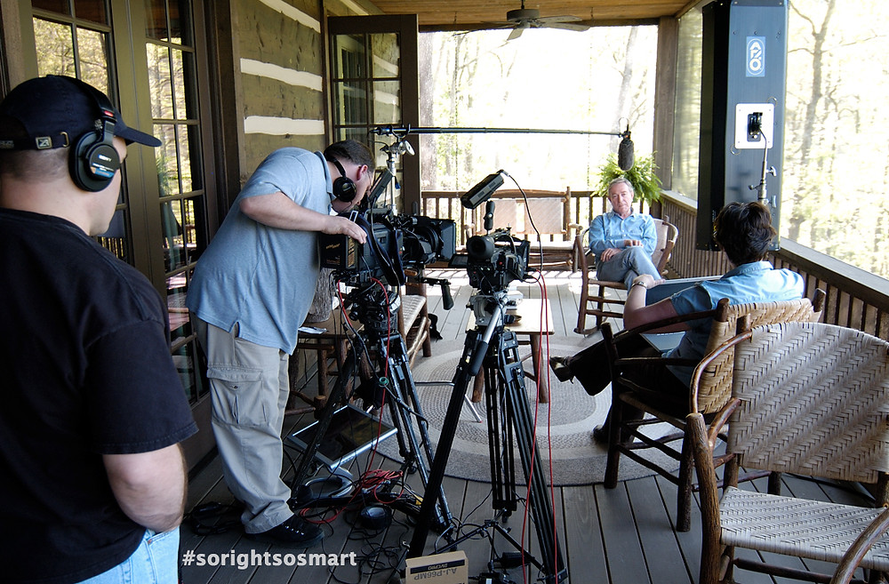 The crew (Justin Maine, Leanne Robinson-Maine and Christopher Haines) interviewing Ray Anderson in 2007 at his North Carolina home. Photo credit: Stephen Ross