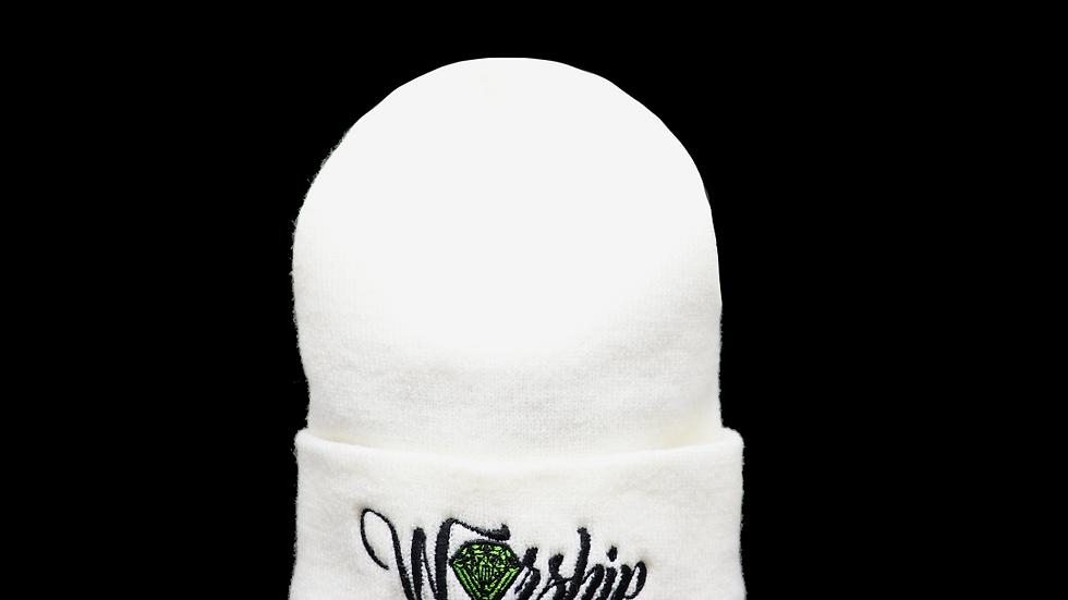 崇拝 Worship Knit cap - white