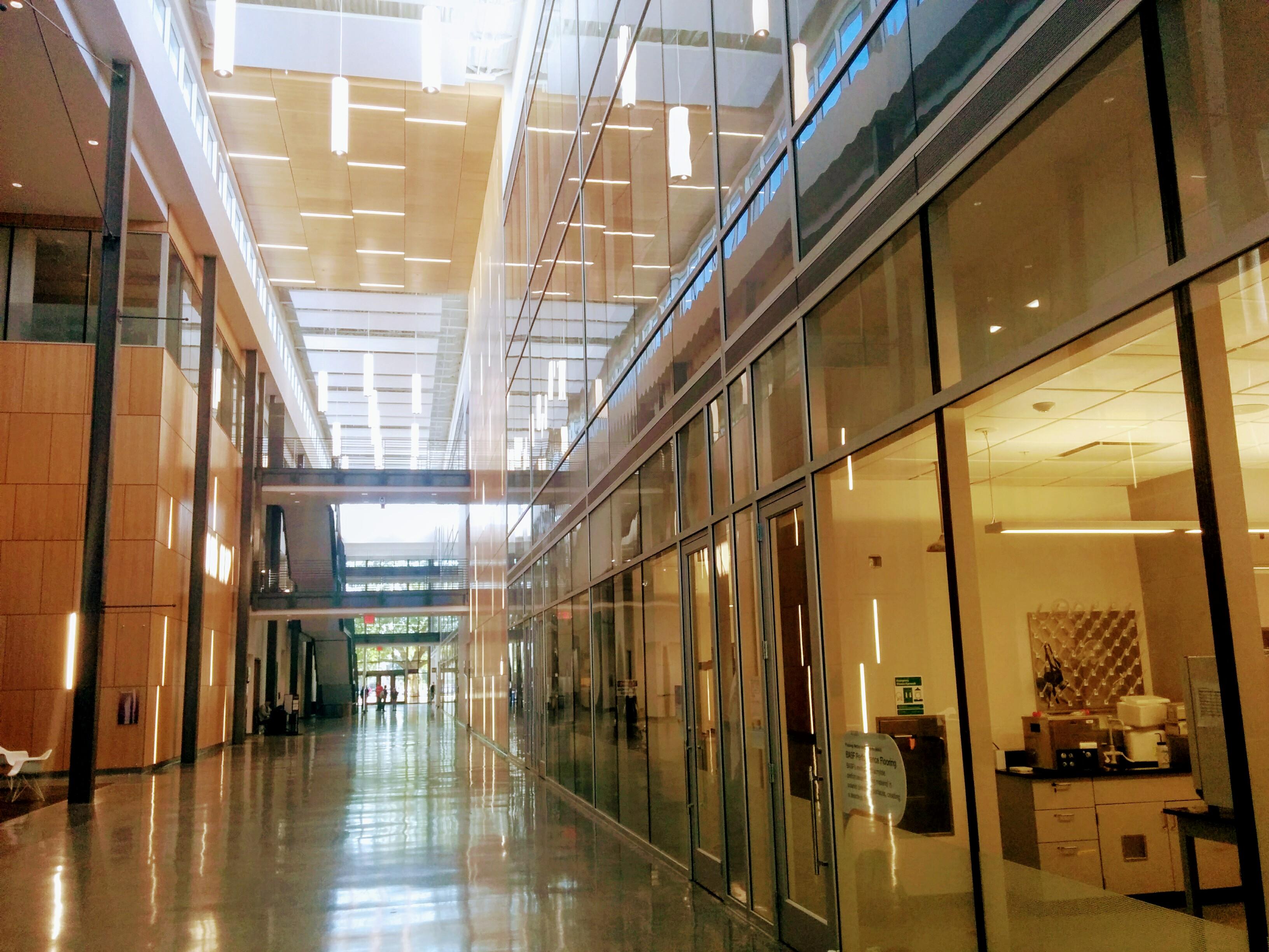 Atrium of light with glass walls