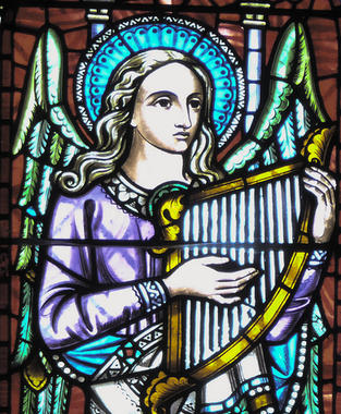 6: 'Angel of Music' - stained glass window by Alexander Gibbs.