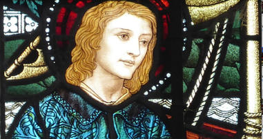 16: 'Christ Commisions Peter' - a detail from the stained glass window by James Powell & Sons - 1902.