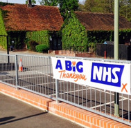 A jazzy NHS sign at the Concorde.