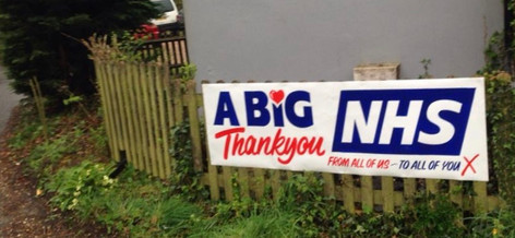 Peter's first banner along country lane .