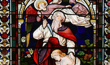 23: 'Abraham and Isaac'. Stained glass window by Ward & Hughes - 1878.