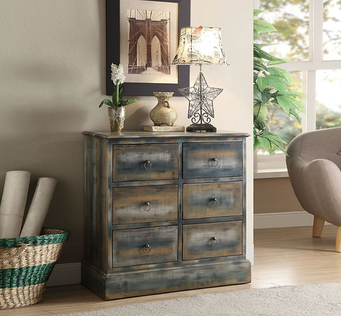 6 Drawer Antique Teal Console Table