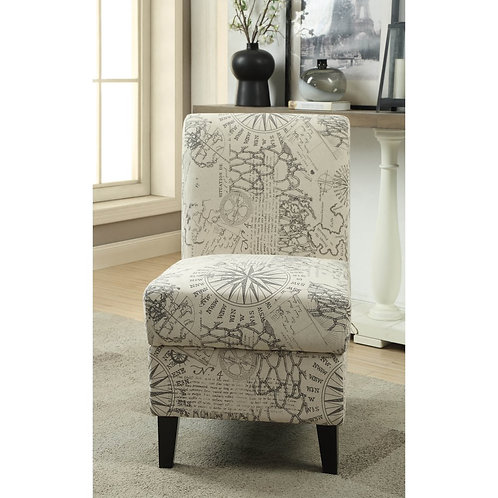 Map Print Accent Chair with Storage