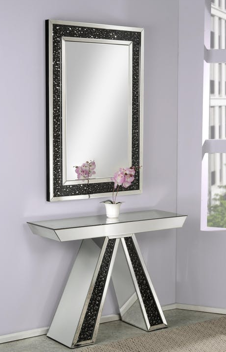 Mirror & Black Crystal Console Table