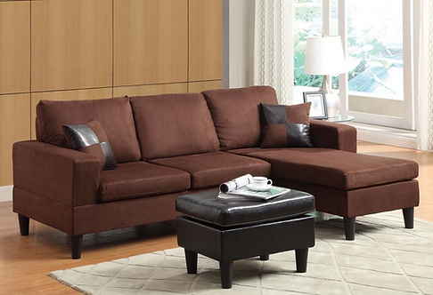 Reversible Sectional with Ottoman & Pillows