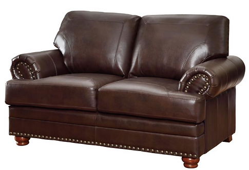 Leather Loveseat with Nailhead Trim