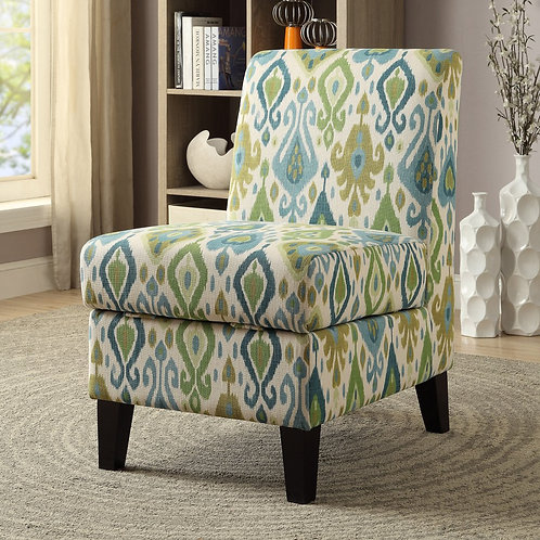 Green & Blue Accent Chair with Storage