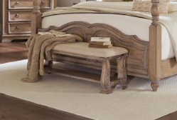 Linen Carved Bench