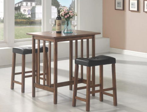 Brown Dining Table with Stools