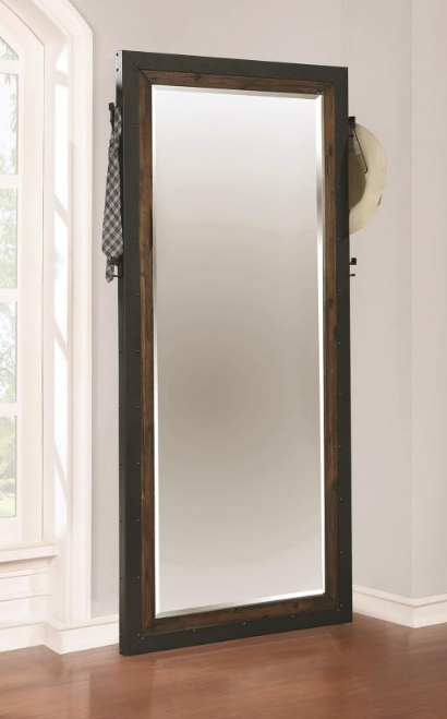 Bourbon and Metal Mirror with Coat Hooks