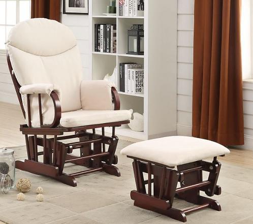 Beige Glider Chair & Ottoman