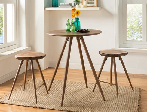 Oak Bar Table with Stools