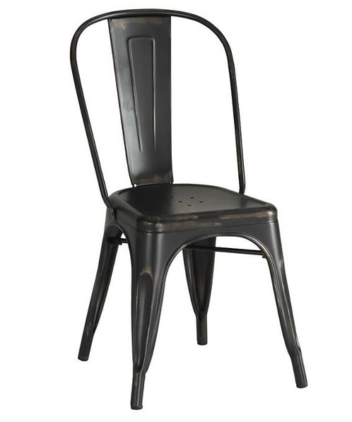 Distressed Metal Black Dining Chairs