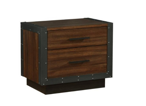 Nightstand With Two Drawers And Dual USB Ports.