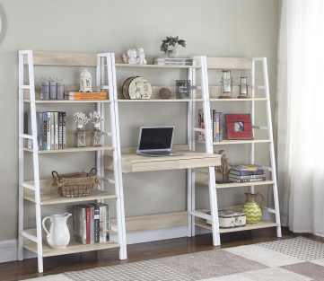 White & Natural Bookshelf Writing Desk