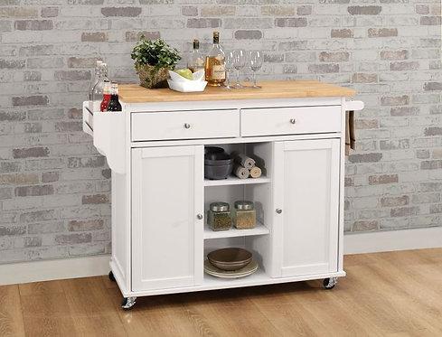 White & Natural Kitchen Cart