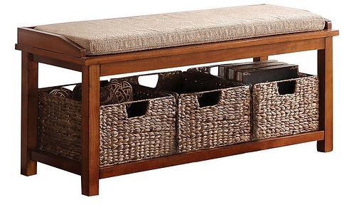 Walnut Bench with Baskets