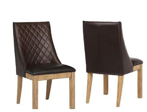 White Oak & Dark Brown Side Chair