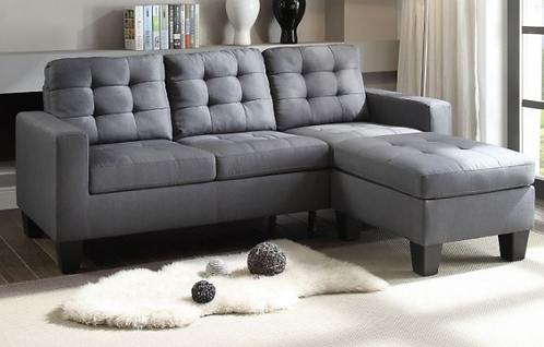 Grey Linen Reversible Sectional