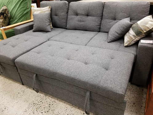 This Blue Grey Sofa Bed Features A Reversible Chaise With Storage And Pull Out The Sleeping Surface Is Just About Queen Sized