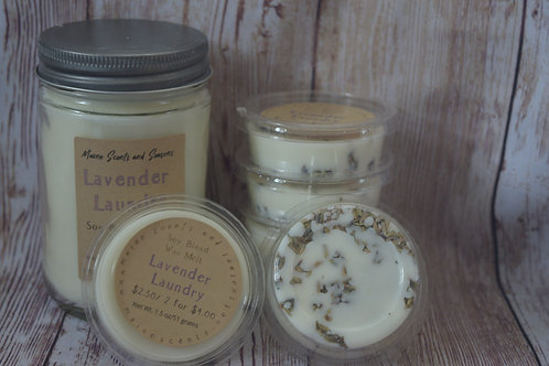 Lavender Laundry Soy Candle and Wax Melt Set | Made in Maine | Lavender Flowers