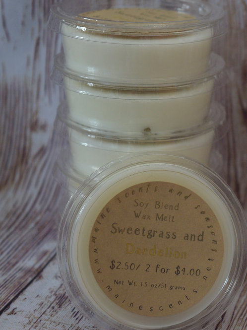 6 Sweetgrass and Dandelion Wax Melts | Compostable Packaging | Toxin Free
