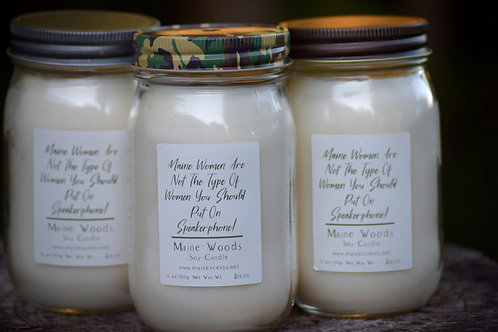 Maine Woods Soy Candle | Funny Label