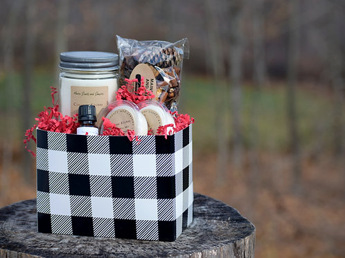 Black Buffalo Plaid Gift Box Basket ~ Choice of Scent