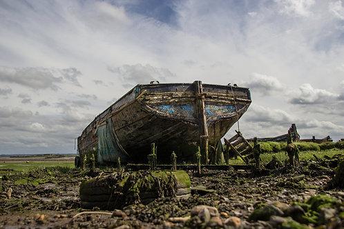 Hoo St Werburgh, Kent Marshes Medway river estuary derelict abandoned boat