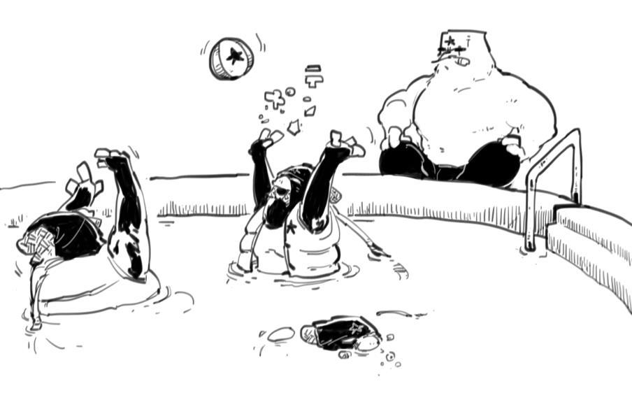 鳥類だらけの水泳大会