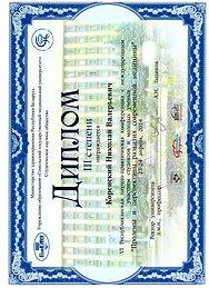 Коренский Николай Валерьевич, диплом 6-ой Республиканской конференции с международным участием, 2014 год