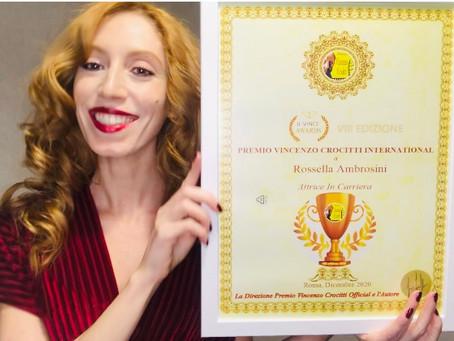"""Rossella Ambrosini vince il Premio Vincenzo Crocitti International: """"Lo dedico ai miei genitori"""""""