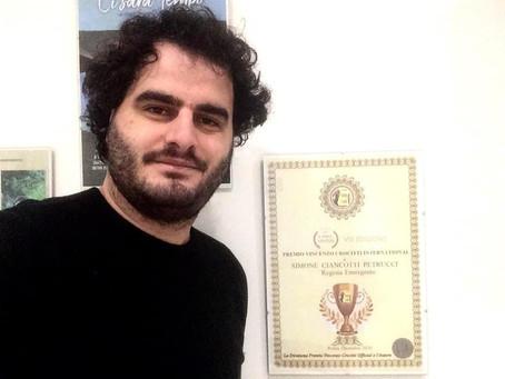 """Simone Ciancotti Petrucci vince il Premio Vincenzo Crocitti International: """"Lo dedico ad Angelina"""""""