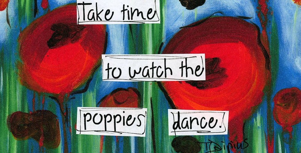 5.5 x 8.5 blank journal. Poppies dance