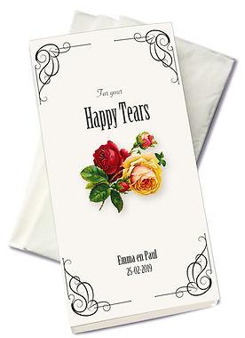 happy tears, dry your happy tears, tranen van geluk, tranendoekjes, persoonlijke zakdoekjes