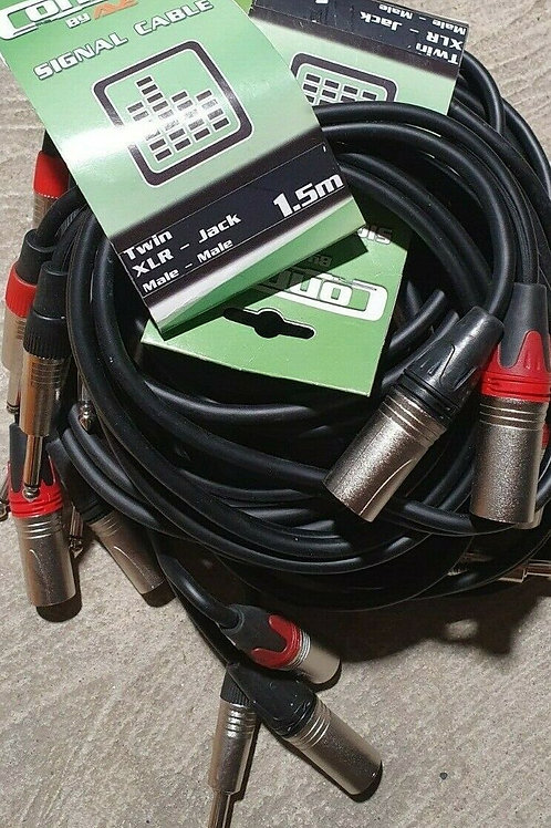 """6 x 1.5 Metre Dual XLR Male to Male 1/4"""" Jack Microphone Link PA Cable Leads"""