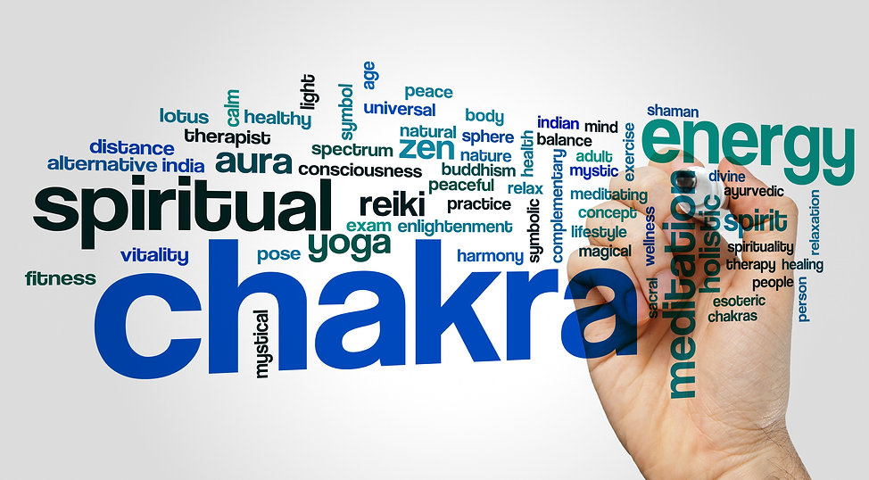 Chakra word cloud concept on grey backgr