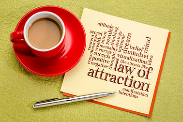 law of attraction word cloud on a paper