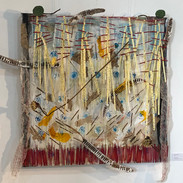 """Untitled (Nakhon Sawan) Mixed Media: acrylic, wood, wire, lotus, gold leaf, wax paper, plant fiber paper, rice paper, seed pods, brass, face masks, incense, fire, canvas 40"""" x 40"""" 2020  Collection of the Municipality of Nakhon Sawan, Thailand"""